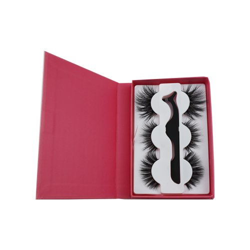 wholesale red rectangle 3 pairs with tweezer private custom lashes box 3